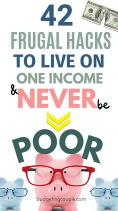 42 Frugal Hacks to Live on One Income & Never be Poor - Finance tips, saving money, budgeting planner Saving Money Quotes, Best Money Saving Tips, Money Saving Challenge, Ways To Save Money, Money Tips, Money Plan, Savings Challenge, Money Hacks, Earn Money