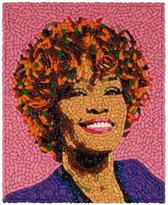 Whitney Houston portrait made out of pills.