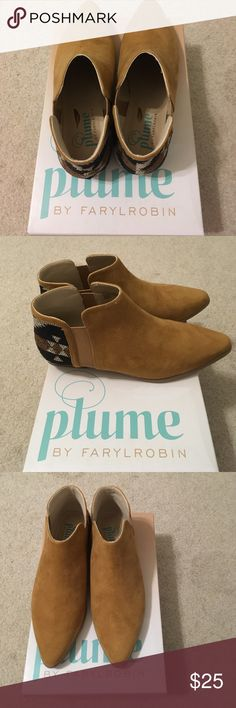 Boho booties✨ New! Cashew colored with geometric design. Size 7. Never worn. Brand new with box. Bohemian style, perfect for festivals! Brand is Plume by FARYLROBIN from Target. Shoes Ankle Boots & Booties