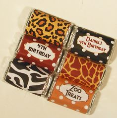 Zoo Party Mini Candy Bar Wrappers by WhenIWasYourAge on Etsy, $6.00