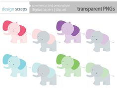 elephant clip art graphics, elephant digital clipart baby personal and commercial use - pink purple blue green grey  - INSTANT DOWNLOAD
