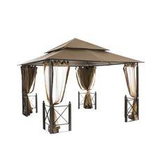 x 12 ft. Outdoor Patio Harbor Gazebo - The Home Depot Hot Tub Gazebo, Gazebo Canopy, Shade Canopy, Backyard Gazebo, Gazebo Curtains, Backyard Plan, Outdoor Gazebos, Mosquito Curtains, Mosquito Net