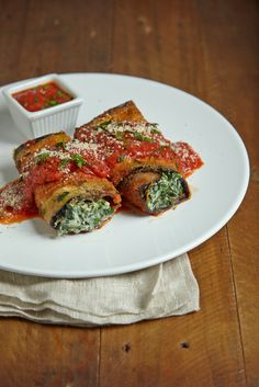 Eggplant Rollups With Cream Cheese and Spinach #philly4passover #ad