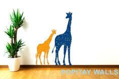 This mummy and baby giraffe pair is perfect for a little boys new room. Dark Blue Mother Giraffe - 17.9 inches wide and 48 inches tall.  Orange Little