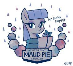#954356 - artist:rikuta, boulder (pet), bow, happy, maud pie, safe - Derpibooru - My Little Pony: Friendship is Magic Imageboard