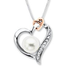 Heart Necklace Cultured Pearl/Diamonds Sterling Silver/10K Gold