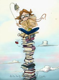 The idea of E-readers taking over and the Art of printed literature dying out makes me want to cry! Illustrations, Book Illustration, I Love Books, My Books, Reading Art, Reading Books, World Of Books, Lectures, Book Images