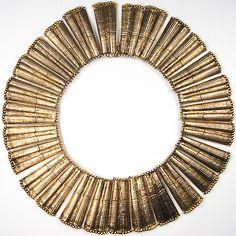 Hattie Carnegie Beaten Gold Collar Necklace