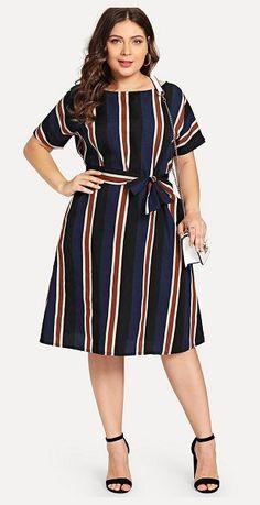 Shop Plus Colorblock Striped Dress online. SheIn offers Plus Colorblock Striped Dress & more to fit your fashionable needs. Vestidos Plus Size, Plus Size Dresses, Plus Size Outfits, Belted Dress, The Dress, Striped Dress, Surplice Dress, Plus Size Womens Clothing, Plus Size Fashion