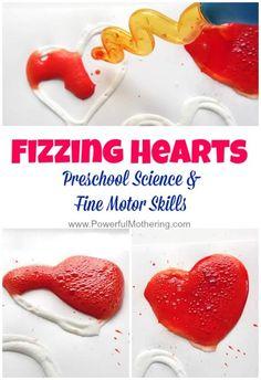 fizzing hearts preschool science and fine motor idea