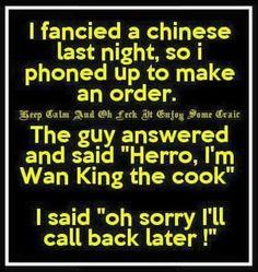 I fancied a Chinese last night - funny jokes Corny Jokes, Best Funny Jokes, Funny Stuff, Funny Things, Hilarious, Funny People Quotes, Funny Quotes For Teens, Humor, Funny