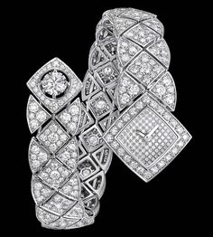 """""""Signature Duo"""" watch in18K white gold set with668 brilliant-cut diamonds for atotal weight of13.5 carats, quartz movement. """"Signature de  Chanel"""" Collection"""