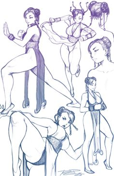 Chun Li sketchs, Street Fighter series artwork by Robert Porter.