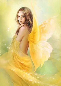 Girl with yellow wings & wrapped in yellow art