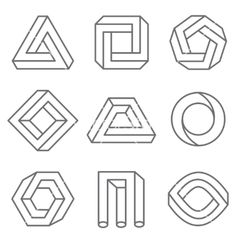 Impossible geometric shapes in linear outline style. Vector hipster elements royalty-free stock vector art love art Impossible geometric shapes in linear outline style. Geometric Shapes Design, Geometric Drawing, Geometric Art, Illusion Drawings, Illusion Art, Impossible Shapes, Shape Art, Design Graphique, Free Vector Art