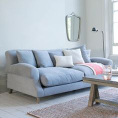 Classic, extra deep Crumpet sofa in Wolf brushed cotton