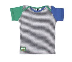 This tasty little T-shirt made with Oishi-m goodness of the coolest pale blue, grey and balck micro stripe body and the very grrovy mis matched bright blue and bright green waffle short sleeves will keep your little munchkin cool as a cucumber over the warmer months. This T features Oishi-m's envelope neck for ease during dress up time.