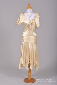 1920 Drop Waist Silk Vintage Wedding Dress : Mill Crest Vintage
