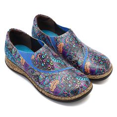 Billige Socofy SOCOFY Folkways Pattern Splicing Gummiband weiche Nähte Slip On Flache Schuhe - NewChic Mobile Georgia, Vintage Outfits, Vintage Shoes, Laos People, Themed Outfits, Womens Flats, Uganda, Fancy, Vintage Clothing