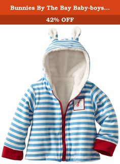 Bunnies By The Bay Baby-boys Newborn Salty Seas Jacket, Blue/White, 6-12 Months. Nautical blue and white stripe knit jacket is lined in soft terry and trimmed with pink knit cuffs and a crisp white zipper. Sailboat patch and perky bunny ears make this a bunnies look all the way. Machine was and dry. Size 6-12 months.