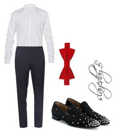 """Untitled #32"" by slayedbybri on Polyvore featuring Balmain, Burberry, Christian Louboutin, Tommy Hilfiger, men's fashion and menswear"