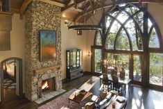 Big fireplace and never too many windows! One day I'll have a mountain home.