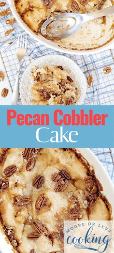Pecan Cobbler Cake is a pecan pie lovers dessert in the form of a cake. #pecancobblercake #cobbler #cake #pecan #dessert #mooreorlesscooking Pecan Recipes, Cooking Recipes, Yummy Recipes, Recipies, Just Desserts, Delicious Desserts, Keto Desserts, Pecan Cobbler, Berry Crumble