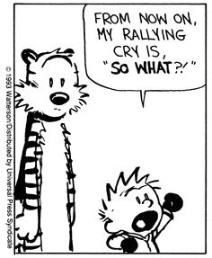 """Calvin and Hobbes QUOTE OF THE DAY (DA): """"From now on, my rallying cry is """"SO WHAT?!"""" -- Calvin/Bill Watterson"""