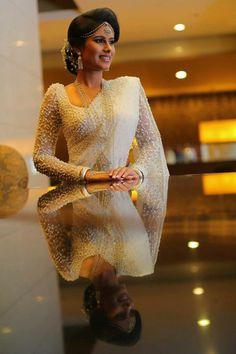 Dressed Dhananjaya Bandara Bridesmaid Saree, Wedding Saree Blouse, Wedding Sari, Saree Dress, Bridal Sarees, Wedding Attire, Christian Wedding Sarees, How To Pose, White Bridal