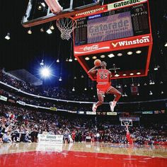 <p>Air Jordan takes off from the free throw line and soars to a perfect score of 50 to defeat Dominique Wilkins in the finals of the Slam Dunk Contest. It was the second straight title for the Bulls star, and the '98 contest is widely considered the best ever because of the duel between Jordan and Wilkins.</p>