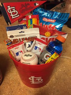 Team gift baseball buckets for end of season party.