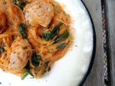 Tomato Cream Chicken Sausage 'Pasta'   PaleOMG - Paleo Recipe