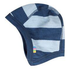 Baby hjelm fra Joha i lys blå og blå striber, merinould, str. 45