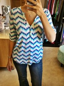 I like the colors in this chevron top. I received this top in a different color in my first fix and sent it back but I do like it in this color!