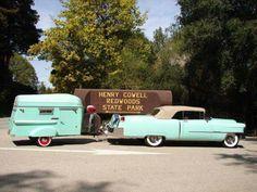 Cadillac and camper Vintage Rv, Vintage Caravans, Vintage Travel Trailers, Vintage Campers, Vintage Photos, Camper Boat, Camper Caravan, Camper Trailers, Cadillac