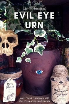 Samhain Sunday: Evil Eye Medieval Ashes Urn - Year-round Halloween inspiration from The Witch at OneandSeventy #HalloweenDIY #HalloweenCraft #MerlinDIY #HalloweenDecoration Halloween Potions, Haunted Halloween, Halloween 2018, Halloween Crafts, Halloween Ideas, Halloween Decorations, Haunted Dollhouse, Goth Home Decor, Rustic Crafts