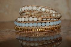 Mother of Pearl & Gold Nuggat 5-Row Beaded Wrap Bracelet