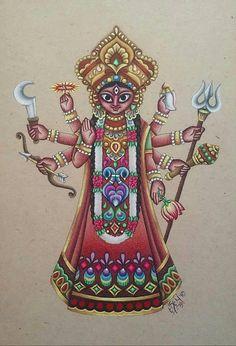 Original Durga mixed medium art on paper.