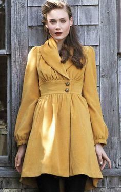Anthropologie Tracy Reese Ruched Marigold Coat