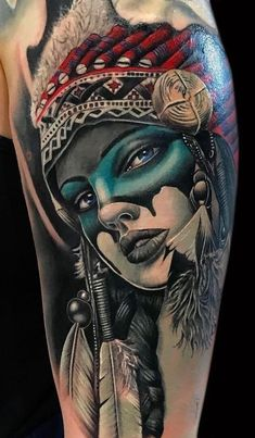 The tattoo sleeve of fashionable women Native American ideas , Indian Women Tattoo, Indian Girl Tattoos, Tattoos For Women, Tattoos For Guys, Indian Chief Tattoo, Indian Tattoo Design, Native American Tattoos, Native Tattoos, Native American Girls