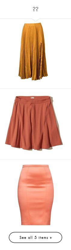 """🧡🔻"" by izzystarsparkle ❤ liked on Polyvore featuring skirts, bottoms, gold, midi, brown pleated skirt, front slit skirt, elastic waistband skirt, knee length pleated skirt, calf length skirts and orange"