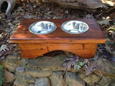 Reclaimed wood Dog Dish Holder by AnneHathawayDesigns on Etsy