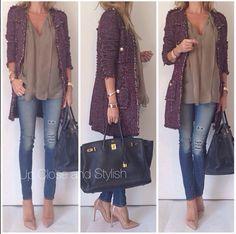 #Zara coat, #Stella_McCartney top, #Rag_Bone jeans, #Hermès #Birkin 40 GHW and #ChristianLouboutin 'Pigalle' 120mm.