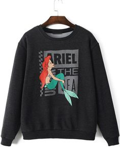 Shop Black Round Neck Mermaid Print Sweatshirt at victoriaswing, personal womens clothing online store! high quality, cheap and big discount, latest fashional style!