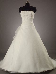 A-line Sweetheart with Beadings and Lace Appliques Chapel Train Organza Satin Wedding Dress WD1081 www.tidedresses.co.uk $232.0000