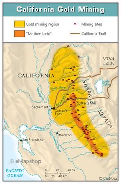 California Resources Hazards And Water Gold Rush History - Map of us gold migration