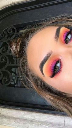 Make Up - Colorful Makeup # EyeMakeup Tips # Halloween Face Makeup . - Make Up – Colorful Make Up makeup - Makeup Eye Looks, Eye Makeup Tips, Makeup Goals, Skin Makeup, Eyeshadow Makeup, Pink Eyeshadow, Makeup Brushes, Makeup Products, Eyeshadow Palette