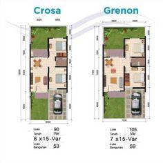 Tipe Crosa (LB:53 / LT:90 Var) dan Tipe Grenon (LB:59 / LT:105 Var); Kedua tipe rumah ini memiliki kelebihan posisi yang terletak di cluster Lake@The Dense, dimana cluster tersebut lebih dekat deng…