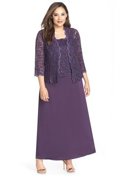 512b6a1e50852 Alex Evenings Scallop Lace Gown  amp  Jacket (Plus Size) available at   Nordstrom