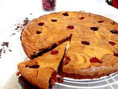 Receta: Tarta brownie de queso con chocolate y frambuesas